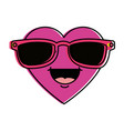 cute heart with sunglasses kawaii character vector image