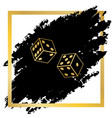 dices sign golden icon at black spot vector image