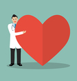 Doctor presenting the big heart vector image vector image