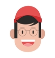 face of man with cap and glasses icon vector image