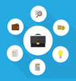 flat icon incoming set of billfold document cash vector image vector image
