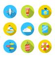 flat modern set icons traveling planning summer vector image