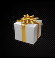 golden 3d gift box isolated on black vector image vector image