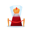 golden royal crown on pedestal under glass box vector image vector image