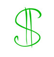 green dollar sign sketch drawing vector image