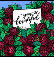 hand drawn postcard with red roses vector image