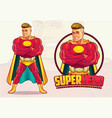 handsome superhero mascot vector image vector image