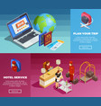 hotel service 2 isometric webpage banners vector image