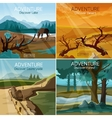 Landscapes travel 4 flat icons square vector image
