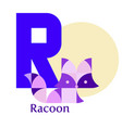 letter r - racoon vector image