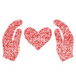 love care hands fabric textured icon vector image vector image
