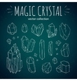 Magic crystal hipster style hand drawn set vector image