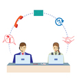 Man and woman working in a call center vector image vector image
