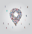 people crowd gathering in location geo tag shape vector image vector image