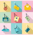 phishing icon set flat style vector image vector image