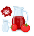 plastic bottle with red cherry fruit juice and vector image