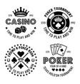 poker and casino set four monochrome vector image