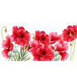 poppy flowers watercolor vintage retro summer red vector image vector image