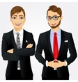 portrait of two young businessmen vector image vector image