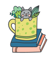 postcard with adorable kitten books and plants vector image vector image