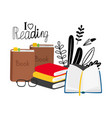 reading concept with books glasses vector image vector image