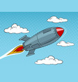 rocket missile flying pop art style vector image vector image