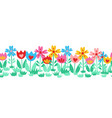 seamless cute flower border isolated on white vector image vector image