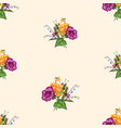 seamless pattern sketches small bouquets vector image vector image