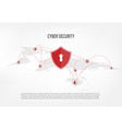 shield on internet hacker background vector image vector image