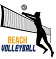 silhouette beach volleyball player vector image vector image