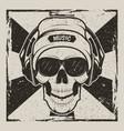 skull music vintage grunge design vector image vector image