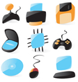 Smooth pc hardware icons vector image vector image