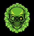 st patrick skull leaf clover frame vector image vector image