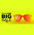 sunglasses sale banner big sale 50 off summer vector image vector image