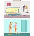 tanning in solarium and spraying method vector image vector image