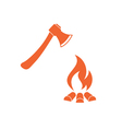 The ax and campfire icon vector image