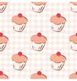 Tile background with cupcake and pink houndstooth vector image vector image
