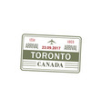toronto airport stamp isolated vector image vector image