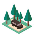 van parking and trees scene isometric icon vector image vector image