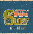 Vintage summer surf print with a mini van and 70s vector image vector image