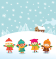 Winter Kids vector image vector image
