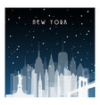 winter night in new york night city in flat style vector image vector image
