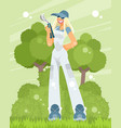 woman gardener with a pruner vector image