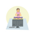 young woman playing games on her flat television vector image vector image