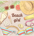 hand drawn beach vacation doodle woman fashion vector image