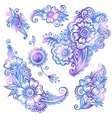 Blue hand-drawn flowers set vector image