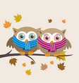 couple of owls with scarf on a fall day vector image