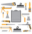 painting icons flat set with roller bucket brush vector image