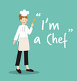 chef character with spoon on green background vector image