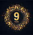 9 th years anniversary isolated design vector image vector image
